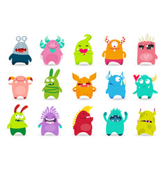set funny cute monsters cartoon vector image