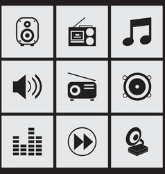 Set of 9 editable melody icons includes symbols vector