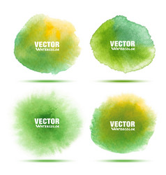 set of bright green watercolor circle stains vector image
