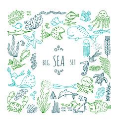 Set of cartoon fish and sea animals vector