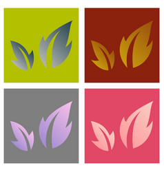 Set of fresh basil leaves icon flat of basil vector