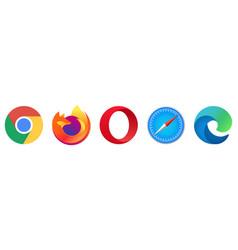 Set popular logo internet browsers vector