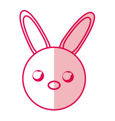 Shadow rabbit face cartoon vector