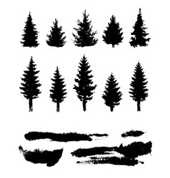 silhouette forest template elements vector image