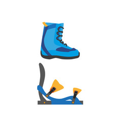 Snowboarding boots bindings isolated vector