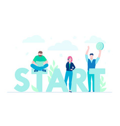 start - flat design style colorful vector image