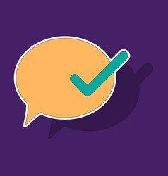 sticker check message flat icon vector image