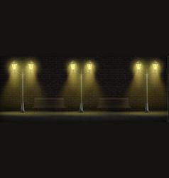 streetlights lighting on brick wall background vector image