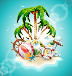 summer holiday with paradise island vector image