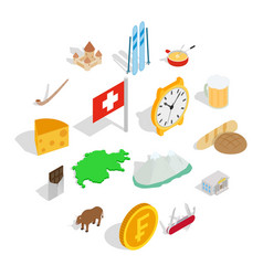Switzerland icons set isometric 3d style vector