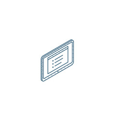 tablet pc isometric icon 3d line art technical vector image