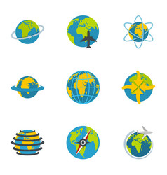 Terrestrial globe icons set flat style vector