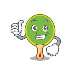 thumbs up ping pong racket character cartoon vector image