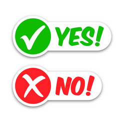 Tick check yes cross no mark labels stickers vector