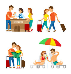 Travelers couple on vacation reception and beach vector