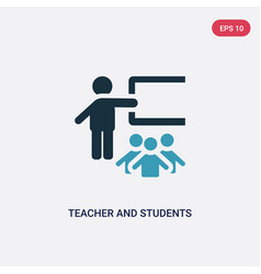 Two color teacher and students icon from people vector
