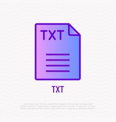 txt file format thin line icon modern vector image