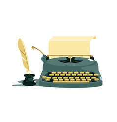 Vintage stylish typewriter with paper and feather vector