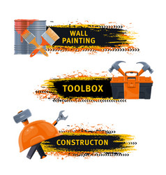 wall painting and construction tools banner vector image
