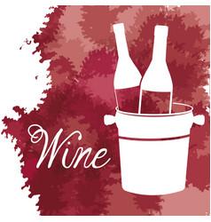Wine bucket with bottles vintage image vector