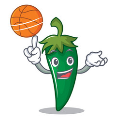 With basketball green chili character cartoon vector
