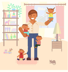 with dad and children vector image