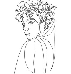 woman face with flowers one line drawing vector image