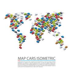World map cars isometric vector