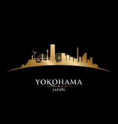 yokohama japan city skyline silhouette black vector image