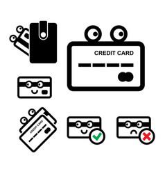 cute credit card icon set vector image vector image
