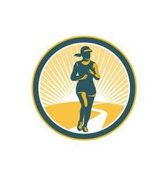Female Marathon Runner Circle Retro vector image