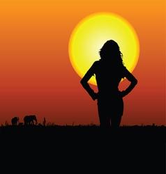 girl on the safari vector image vector image