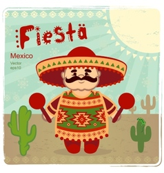 Mexican men on a retro background vector image