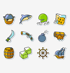 pirate and criminal icons set in line art vector image