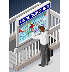 Isometric Underground Map - Man who is Searching vector image