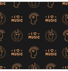 Music seamless pattern punk mohawk hand rock n vector