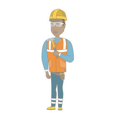 young african-american carpenter holding a hammer vector image
