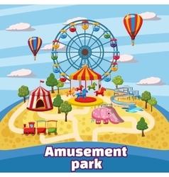Amusement park concept cartoon style vector image