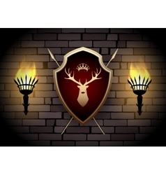 Deer Shield with Torches on the Wall vector image