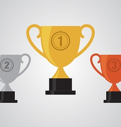 GOLD SILVER BRONZE WINNER CUP TROPHY FLAT DESIGN vector image