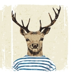 Hand drawn dressed up deer vector image vector image
