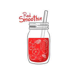 hand drawn red smoothie jar vector image vector image