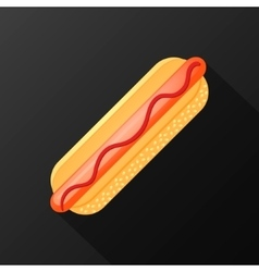 hot dog icon with long shadow flat style vector image