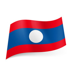 national flag of laos wide central blue stripe vector image vector image