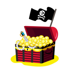 pirate chest of gold icon vector image vector image