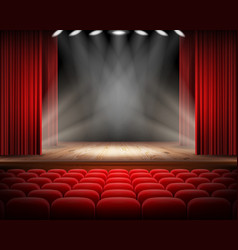 red curtain and empty theatrical scene vector image vector image