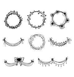 Set of black hand-drawn floral design elements vector image vector image