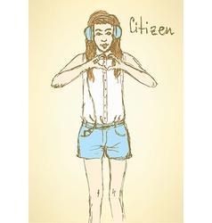 Sketch citizen in Mafia board game vector image vector image