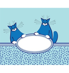 background with funny fat cats vector image vector image