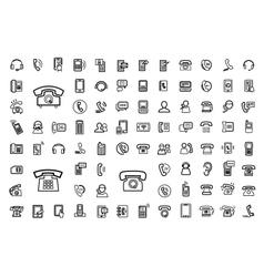 Black phone icons set vector